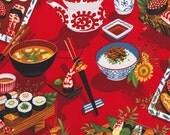 "Alexander Henry ""hiruzen"" red sushi print fabric"