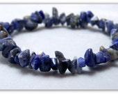 Stretch Bracelet - Gemstone Bracelet - Sodalite Bracelet, Sodalite Chips, Bead Bracelet, Gemstone Jewelry