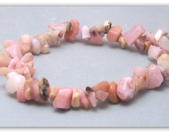 Stretch Bracelet - Gemstone Bracelet - Pink Opal Bracelet, Natural Pink Opal Chips, Bead Bracelet, Gemstone Jewelry
