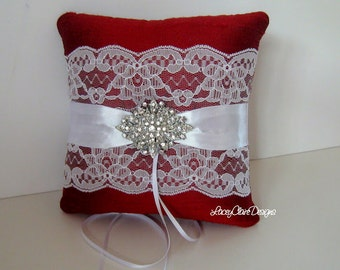Wedding Ring Pillow - Red and White - Custom made in your colors