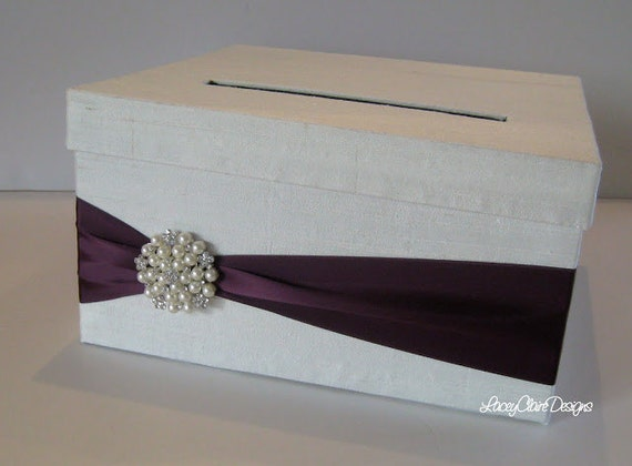 Wedding Card Box White and Purple Money Holder Gift Card – Wedding Reception Gift Card Holder