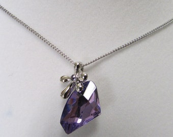 Fashion Jewelry- Beautiful Faceted  Amethyst,Purple Crystal Glass Diamond shape with a Silver Flower Rhodium Plated Necklace