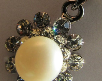 Huge AAA Pearl Pendant- Lovely Smooth  Round AAA White Fresh Water Pearl with Crystal Rhinestone Silver Pendant