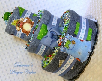 Frogs, Snails and Puppy Dog Tails Boys Baby Diaper Cake 2 styles to choose from Shower Gift or Centerpiece