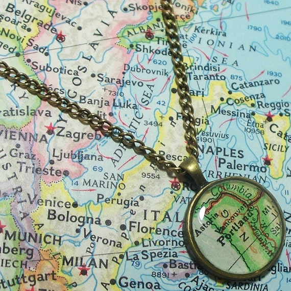 Portland, Oregon 1958 Map Necklace. Map Pendant. Map Jewelry.