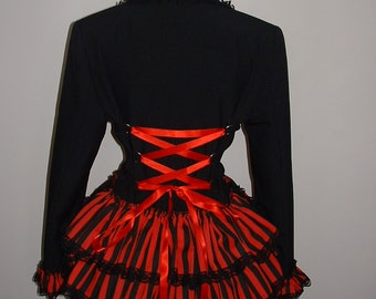 womens black red jacket coat long bustle corset jacket riding victorian gothic US size 8 10 12 14     M L