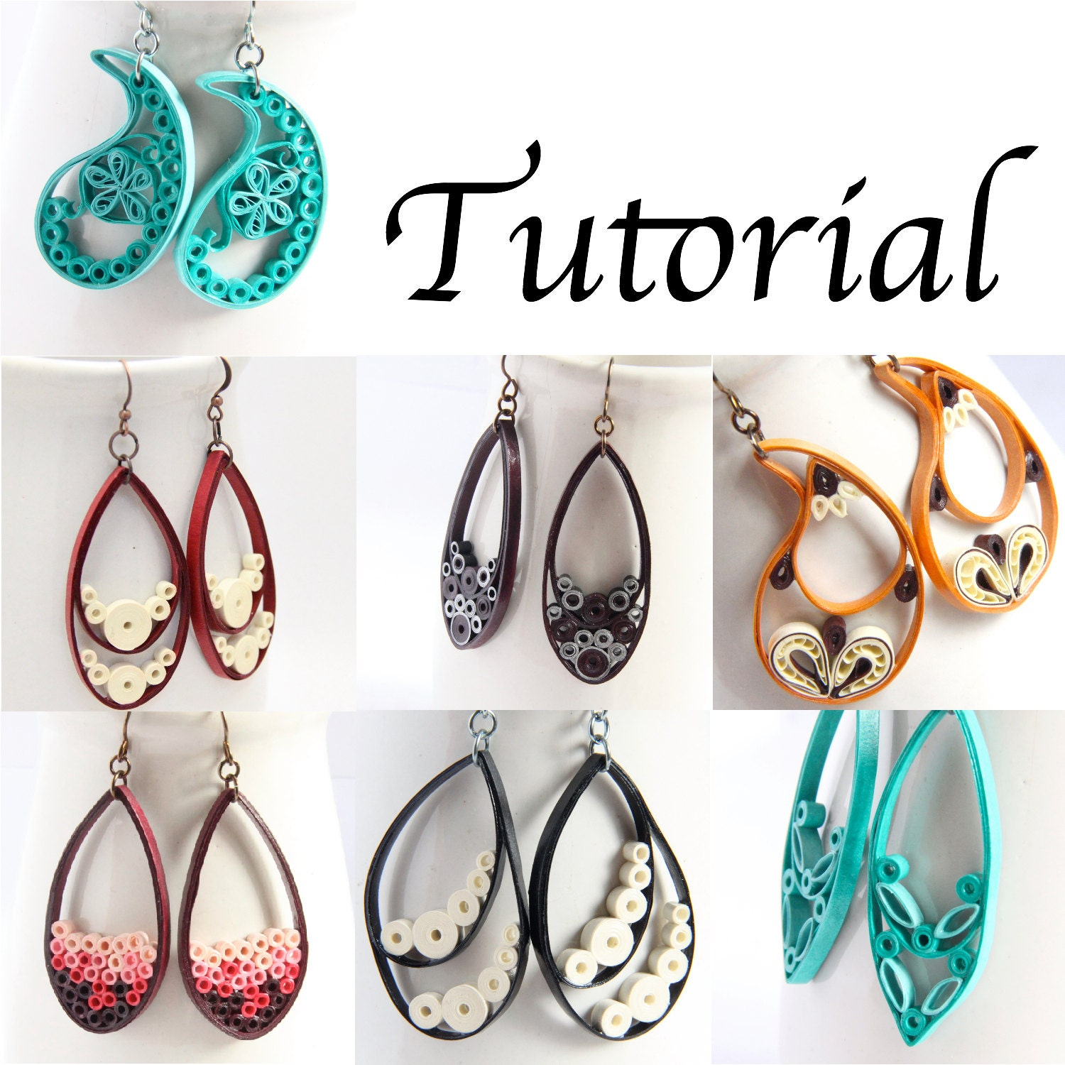 Quilling Earrings Basic Designs : Tutorial for Paper Quilled Jewelry PDF Paisley and Teardrop