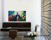 PEACOCK  COUPLE   on the TREE ..Fantasy  original oil painting. room decor, Relaxing colors
