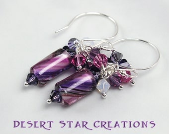Purple White Striped Cane Glass Cluster Earrings, Swarovski Crystal Furnace Glass Bead Earrings