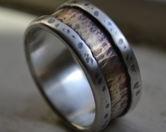 mens wide band ring - Marriage of Metal fine silver with copper and brass oxidized - handmade wedding band - silver lining