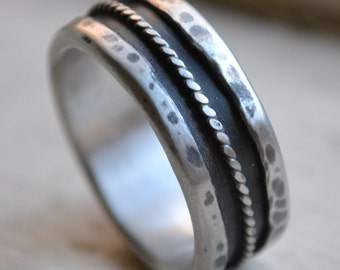mens wedding band - rustic oxidized fine silver and sterling silver ring - handmade artisan designed wedding band - rope - customized