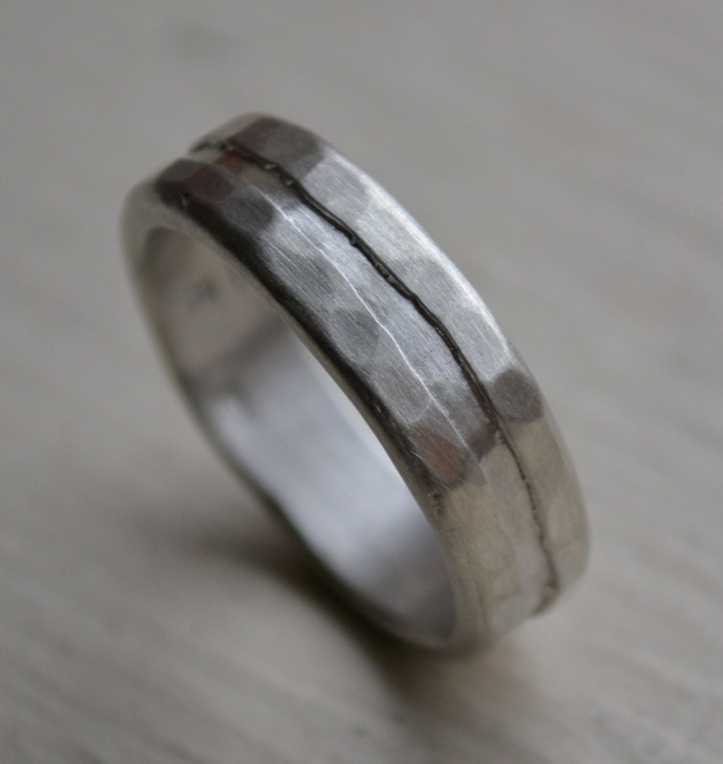 Mens Silver Ring Rustic Sterling Silver Ring Hand Finished