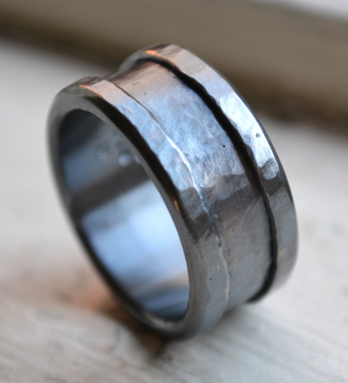 custom mens wedding band oxidized fine silver and sterling. Black Bedroom Furniture Sets. Home Design Ideas