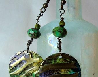 Embossed Brass Earrings Mixed Metal Patinaed