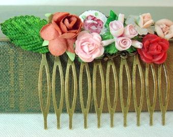 Chic Shabby. Vintage Rose Hair Comb. Wedding Victorian Garden. Collage
