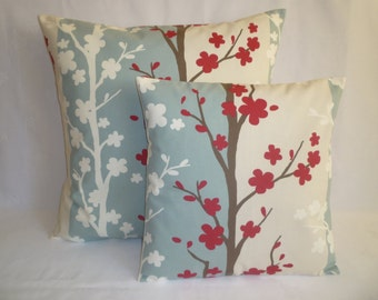 "PAIR Pillow Covers BIG and Small Red Duck Bue Designer Cushions Throw Scatter Pillows 22"" & 16"""