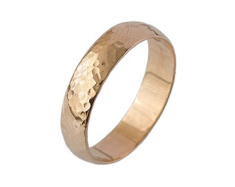 Classic Rounded Hammered Wedding Band in Rose Gold