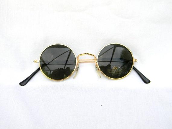 Gold Frame John Lennon Glasses : Vintage 90s NOS Dead Stock UNISEX Circle Sunglasses w Gold