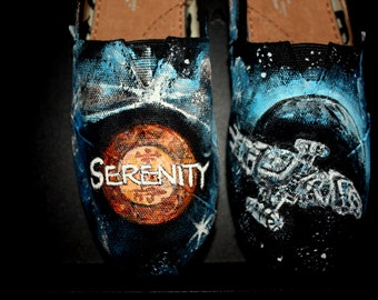 Serenity Firefly Toms Shoes Sneakers  Hand painted Incredibly  detailed Toms  or upgrade to Converse Vans Keds men's women's