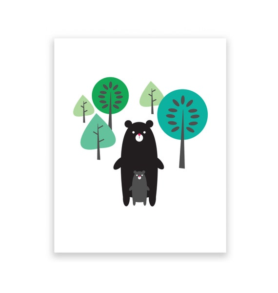 Black Bears in Forest 5X7 Art Print/Wall Art - Baby Nursery Decor and Children's Room Decor