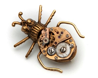 Steampunk Bug Brooch, Gold Beetle Pin