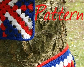Bunting crochet pattern, red white and blue, union jack, instant download, pdf