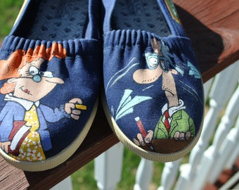 Teachers  heres a pair of funny hand painted sneakers for you size 7 - SOLD