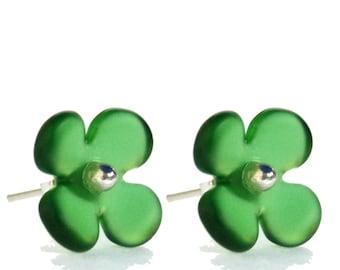 Hydrangea Flower Stud Recycled Glass Earrings Jagermeister Green.