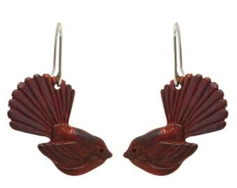 New Zealand Fantail (Piwakawaka)  Copper Earrings