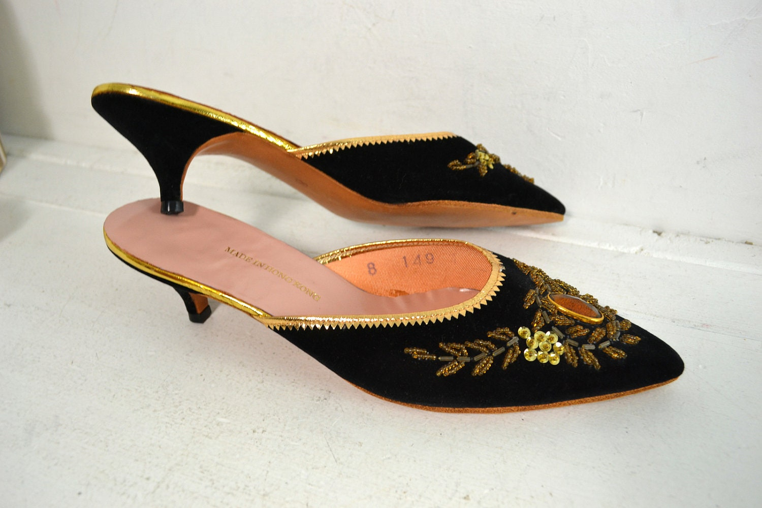 Vintage 1960u0026#39;s Mules / Slip On Shoes // Beaded Black