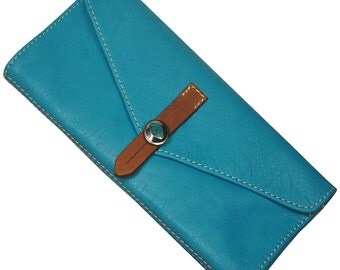 Handmade Women's leather Wallet in turquoise ,named Aris MADE TO ORDER