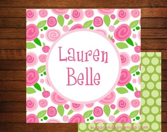 Roses Personalized Gift Enclosures - Set of 24 Gift Tags or Stickers, Calling Cards, Gift Enclosures, Calling Cards