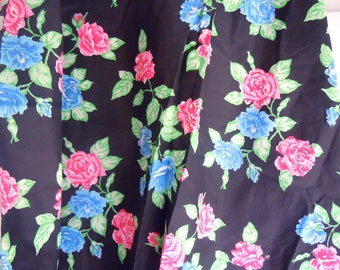 Black Vintage Fabric with Blue and Pink Roses- 1 Plus Yard