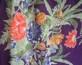 Purple Floral Polyester Vintage Fabric- 2 Plus Yards.