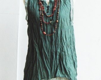 B5, Jade Two Tone Two Layers Sleeveless Green Cotton Blouse