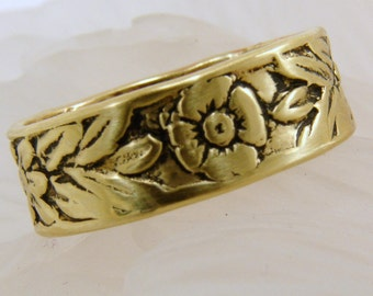 Brass Patterned Floral Toe Ring or Band Ring, Toe Ring, Brass Ring, Floral Toe Ring, Handmade Toe Ring