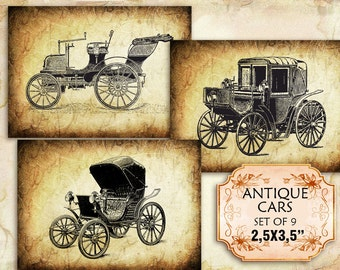 Vintage old automobiles and cars 2.5 x 3.5 inch (307) set of 9 images