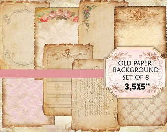 Old paper Vintage Backgrounds Shabby chic paper Scrapbook Decoupage 3,5x5 inches (366) set of 2 sheets