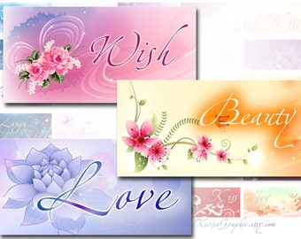 Inspirational words with romantic background 1x2 inchies digital collage sheet domino tile (370)