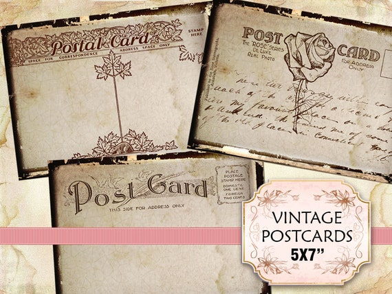 Vintage old postcard 5 x 7 inch Altered Art Scrapbooking Decoupage Craft (340) set of 4 sheets