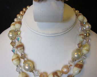 Mommy Needs Another Cocktail - Vintage Double Strand Costume Necklace & Clip-On Earrings