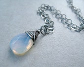 Blue Pendant Necklace Sterling Silver Sea Opal Glass Wire Wrapped Jewelry