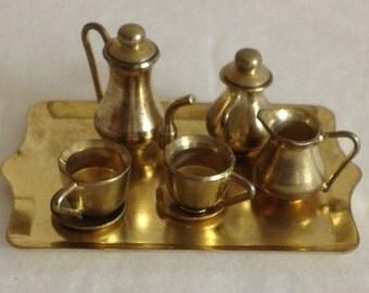 Vintage Miniature Gold Tea Coffee Set