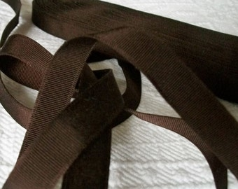 Beautiful Vintage French Milliners Chocolate Hat Ribbon Gross Grain Trim Binding Hat Band
