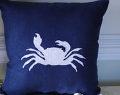 Embroidered Crab Pillow - 16x16 - Beach Decor