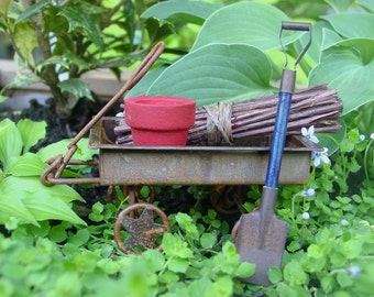 Fairy Garden Accessories, Miniature Garden, Wagon and Tools