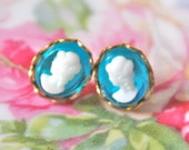 Vintage Aqua Blue Glass White Cameo Scalloped Turquoise Gold Brass Post Earrings - Bridal, Wedding, Bridesmaid
