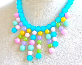 Pink Multicolor Jade Glass Bead One of a kiND Statement Necklace - Aqua,Yellow,Lime Green,  Wedding, Bridal, Beach