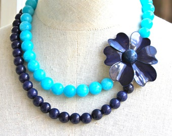 Aqua Blue and Navy Blue Enamel Vintage Flower Necklace -  One of A Kind Double Strand Glass Bead Statement Necklace -  Wedding,Bridal,Beach