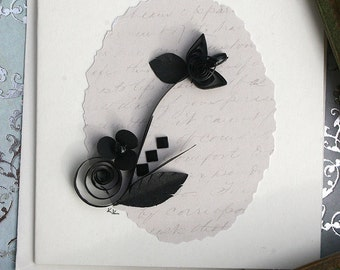 Quilled Enclosure Card, All Occasion, Sympathy, Wedding, Birthday, Hostess, Anniversary, Black Tie, Formal Black and Ivory - TREASURY ITEM
